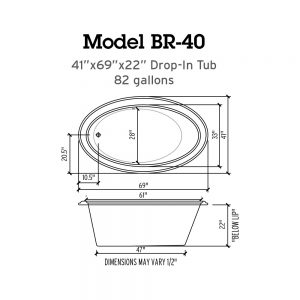 BR-40 Whirlpool Tub Specs
