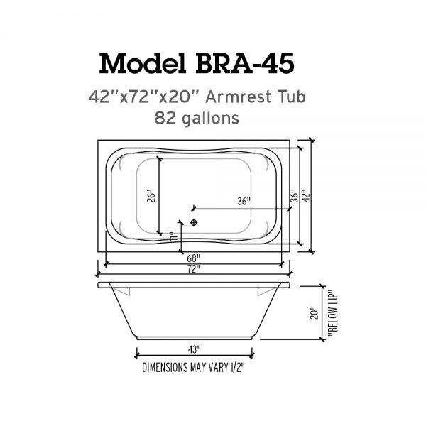 BRA 45 Whirlpool Bathtub Specs