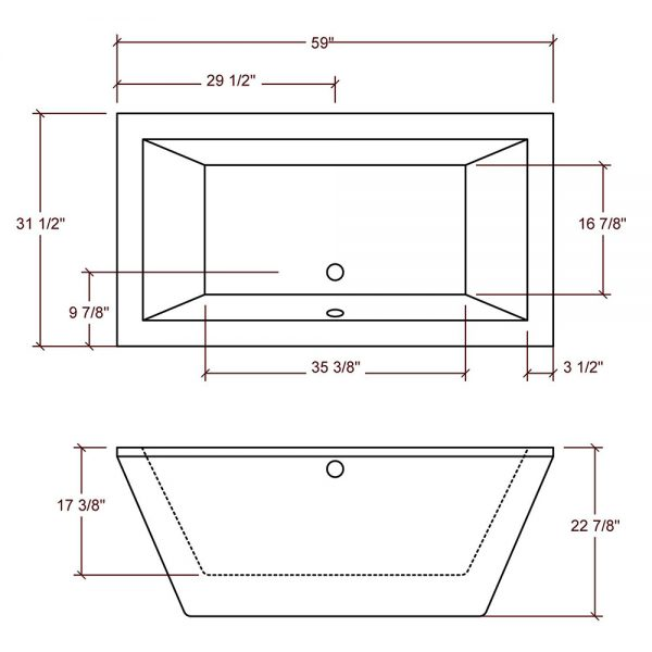 BRF-90 Freestanding Rectangular Bathtub Specs